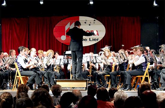 De harmonie tijdens het voorjaarsconcert 2014